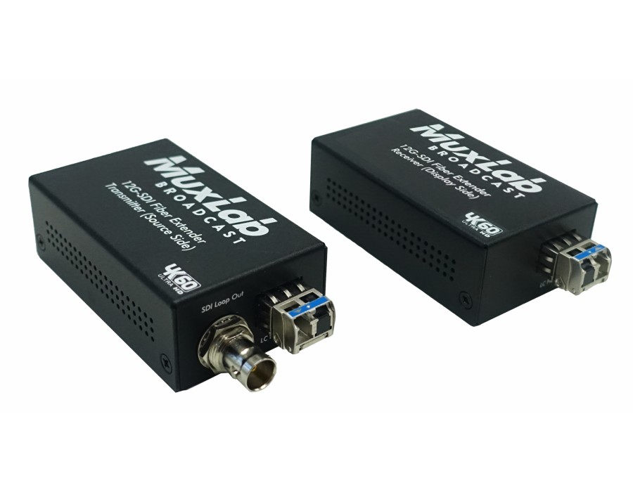 Muxlab MUX-500713 The MuxLab50071312G-SDI Fiber Extender Kit allows 12G-SDI to be transmitted up to 33,000ft (10km) via a one singlemode fiber c